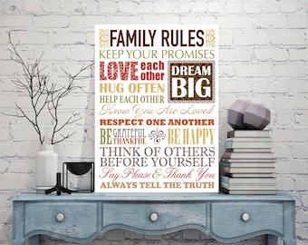 FAMILY RULES Signs, Family Rules Sign, Family Rules Decor, Art Prints, Metal Sign Tin Sign, Family Rules, Family rules print, Iron rules
