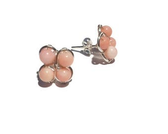 Pink Coral Stud Earrings, Silver Earrings, Pink Coral Earrings, Coral Earrings, Bridesmaids Gifts, Birthday Gift, Mother's Day Gift, Gift