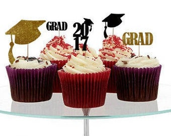 12+ Graduation cupcake Toppers, graduate cupcake toppers, 2017 grad party, Class of 2017 Cake Toppers, Grad Cake Toppers, party decorations
