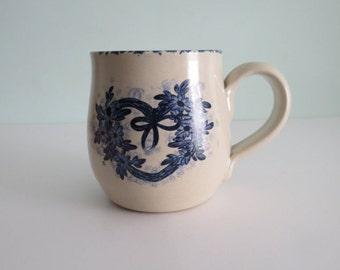 English Blue Floral Mug Hand painted Vintage Mug English Vintage Mug