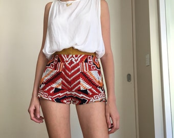 SALE  bohemian hand embroidered high waisted shorts size XS