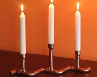 Copper pipe candle holder / Candle stick holder / 3 candle wave design