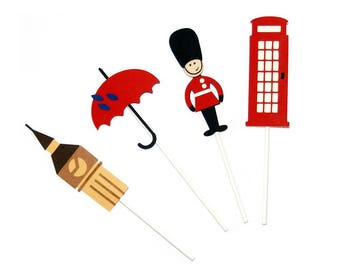 British Themed Cupcake Toppers