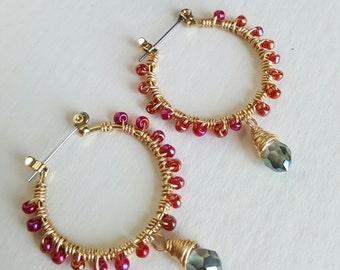 Hand Beaded Hoop Earrings