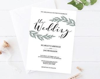 Rustic Wedding Invitation Printable Leaf Wedding Invitation Template Download Wedding Invitations Vintage Wedding Invitation Green Wedding