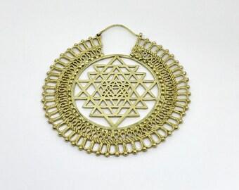 Sri Yantra Hoops earrings,Geometric   brass earrings, sriyantra