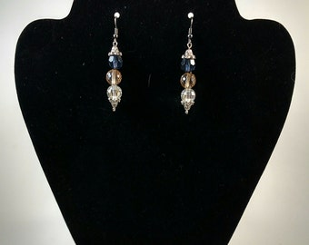 blue/clear/smoke beaded dangles
