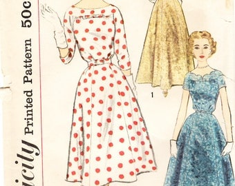 Vintage 50s Dress Pattern Size 18 Bust 38//Vintage 60s Dress Pattern//Simplicity 2503//Vintage Pattern//Rockabilly Dress