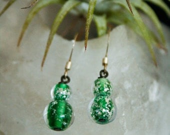 Simple green and silver glass bead earrings