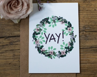 Yay! Botanical Floral Illustrated Wreath Happy Birthday Greetings Card