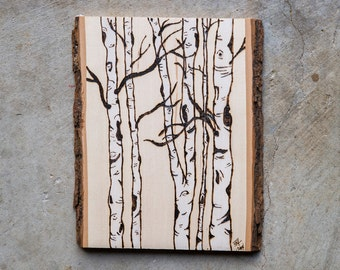 Birch, Please Wood Burned Wall Art- Birch Trees
