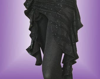 Black Midnight Belly Dance Hip Scarf / Asymmetrical Overskirt with Black Glitter Pattern