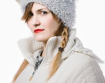White fluffy helmet
