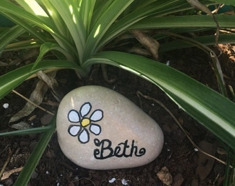Handpainted Garden Stone, Custom Name Rock, Paperweight, Flower Pot Decor, River Rock, Personalized