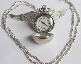 Golden Snitch Pocket Watch / Necklace - Silver Color Ball and Wings