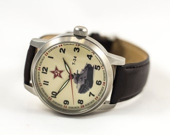 Poljot T-34 watch, mechanical watch, russian watch, ussr watch, soviet watch, military watch, vintage watch, original watch, wrist watches