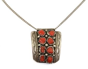 Vintage Navajo Coral Stone Necklace 925 Sterling Silver NC 793