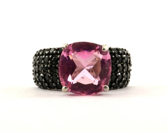 Vintage Women's Pink Cushion Cut Crystal Ring 925 Sterling Silver RG 2320-E