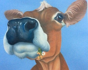 Marigold the jersey cow painting