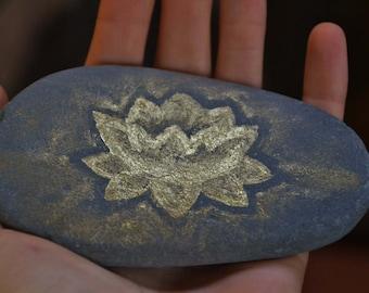 Lotus Stone, Hand Painted Beach Pebble, Gold Painted Rock, Meditation Stone
