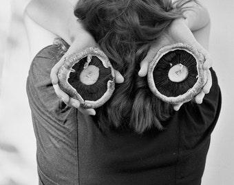 Mushrooms- Black and White Photography, Girl, Woman, B&W Art Print, Medium Film Camera
