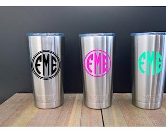 Monogrammed YETI ~ Stainless Steel ~ 20 oz Rambler Tumbler ~ Silver ~ Coffee mug or cup ~ Monogram ~ Personalized Yeti