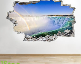 Rainbow Waterfall Wall Sticker 3d Look - Bedroom Lounge Nature Wall Decal Z79