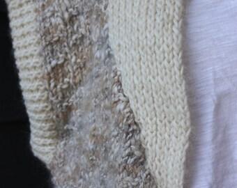 vintage | 1980s | hand knit | sweater | cardigan | vest | wool | Harmony Classics | cream | cozy