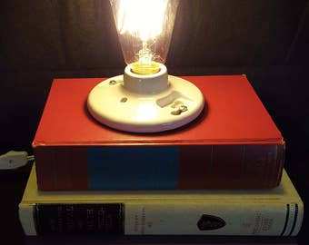 Recycled - Upcycled Stacked Book Lamp - Stacked Book Lamp - Steampunk/Industrial - Vintage Encyclopedias - Edison Style Light Bulb