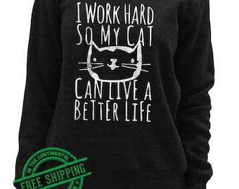 Cat Sweatshirt - Womens Slouchy Pullover - Kitty Sweatshirt - Long Sleeve Yoga Pullover - Comfy Sweatshirt - Wide Neck Sweatshirt