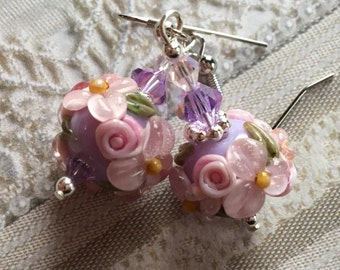 Lavender Lampwork Floral Earrings with Pale Pink Flowers, Lampwork Jewelry, Valentines Day Gift, Mothers Day, Gift For Her