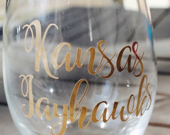 Kansas Jayhawks Wine Glass
