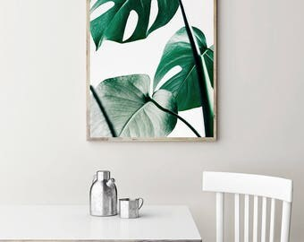 Monstera Print - Botanical Wall Art, Digital Art, Leaf Printable, Green Plant Print, Minimalist Poster, Scandinavian Wall Art, Monstera Leaf