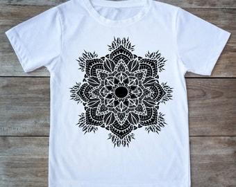 Mandala shirt, flower shirt, zen shirt, meditation shirt, boho shirt, gipsy shirt, hippie shirt, tattoo shirt, yoga shirt, hipster gift