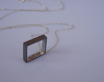 silver necklace, name necklace, square necklace, silver men necklace, personal necklace, handmade silver necklace, name necklace