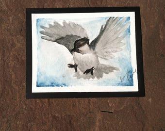 Watercolor Painting: Bird in Flight