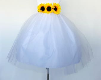 White Flower Girl Dress Sunflower Floral Belt Communion Wedding Bridesmaid Junior Easter Confirmation Infant Recital Chic Birthday Party