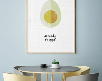 Avocado print, Tropical Fruit, Wall Art, Kitchen Decor, Kitchen print, Large wall art, Printable avocado, Modern Decor, Avocado poster