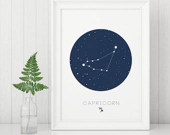 Capricorn Prints, Constellation Prints, Zodiac Posters, Capricorn wall art, Digital Wall Art, Capricorn Constellation, Boy Nursery Prints