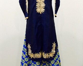 Navy Blue Indo Western Lehenga Choli/ Navy Blue long top and Skirt