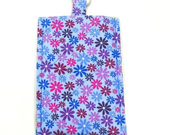 Smartphone Sleeve Case Keyring Blue Purple Flowers
