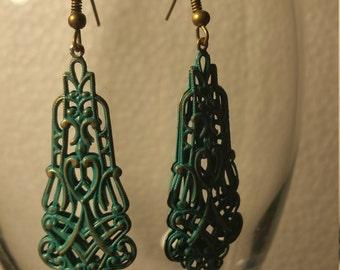 Green filagree earrings