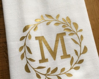 Monogrammed Kitchen Towel - Personalized Towel - Gold Monogram - Laurel - Custom Wedding Engagement Bridal Shower Gift - For the Couple