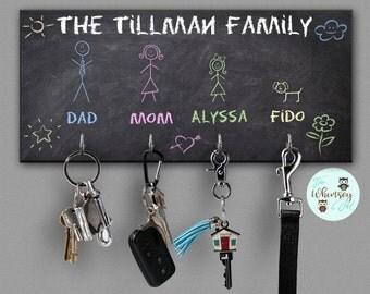 wall key rack, key hanger, kids chalkboard style key holder, key rack, key hook, key organizer, cute key hanger, wall key hanger, leash hook