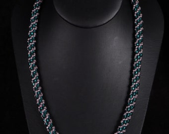 Teal and Lavendar Kumihimo Necklace
