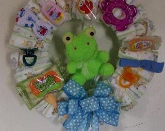Baby Wreath, Baby Shower, Welcome Baby, Baby Gift, Diaper Wreath, Baby