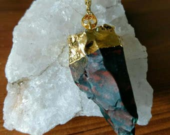 """The Nyx - Blood stone pendant on a 30"""" gold plated chain."""