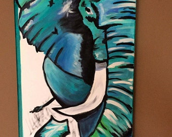 """Elephant Abstract Painting. Original Abstract Art. Vibrant Elephant Painting. 12""""x24"""""""