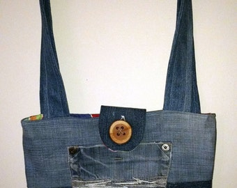 Multi-user bag / purse made of recycled jeans