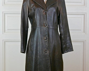 Vintage Women's Leather Coat, Brown Leather Coat, Ladies' Long Leather Trench Coat: Size 6 US, Size 10 UK